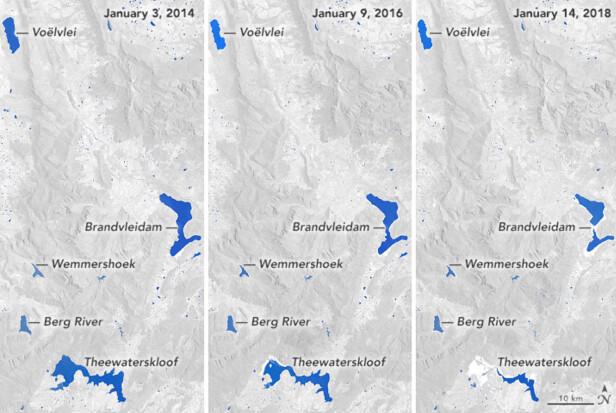 LITE NEDBØR: Theewaterkloofdammen nederst i bildet hadde nær full kapasitet i 2014. Foto: NASA