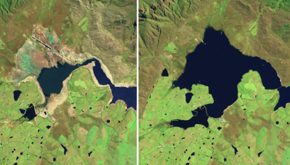 STORE ENDRINGER: Bildet til venstre ble tatt 10. oktober 2017, mens det til høyre ble tatt 18. oktober 2014. Bildene viser deler av Theewaterskloofdammen. Foto: NASA