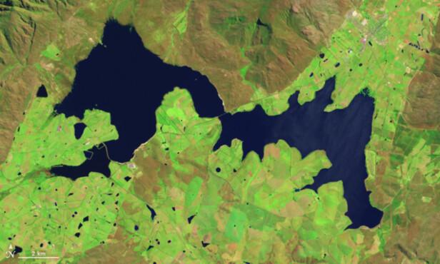 MYE VANN: I 2014 var omtrent hele Theewaterskloofdammen fylt med vann. Bildet er fra 18. oktober 2014. Foto: NASA