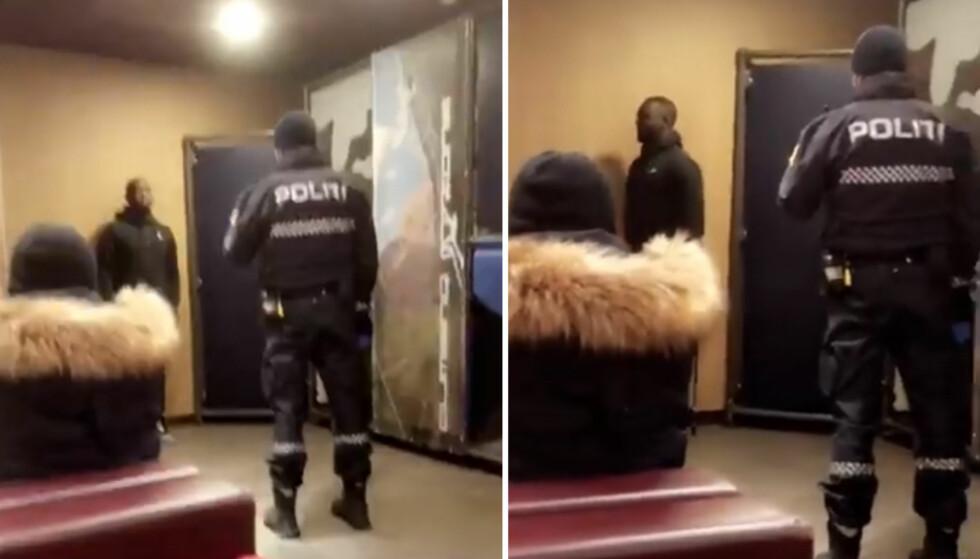 FOTOGRAFERT: En politibetjent avbilder Emmanuel Osei (20) på McDonald's på Grorud i Oslo: - Det var ekkelt, og dette skjedde foran masse folk, sier han til Dagbladet. Foto: Sami Hassan