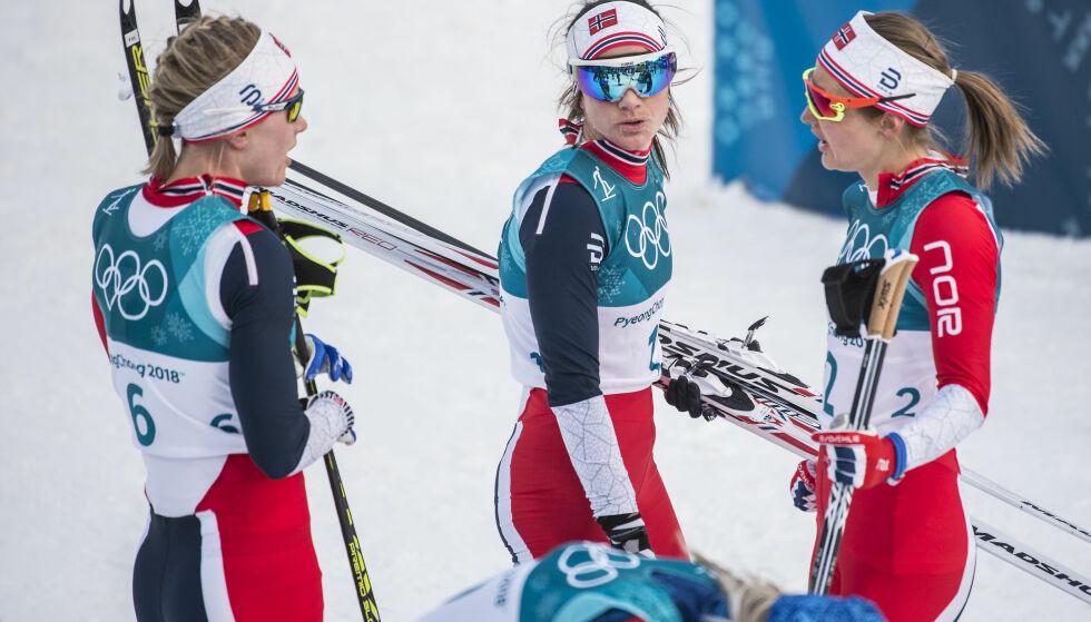 SKUFFET: Verken Ragnhild Haga, Heidi Weng eller Ingvild Flugstad Østberg fikk det til å stemme på dagens skiathlon. Mens Marit Bjørgen ble beste norske og kapret sølvmedaljen, havnet denne trioen langt bak. Foto: Hans Arne Vedlog/Dagbladet
