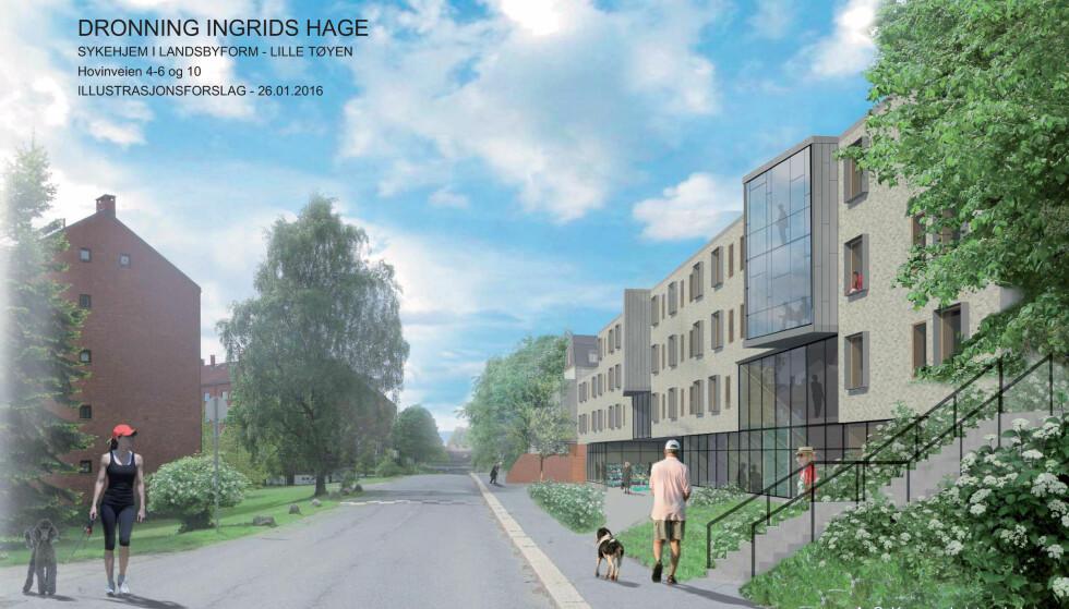 FØRST I DAGBLADET: Her er arkitekttegningen av den nye landsbyen på Lille Tøyen i Oslo, hvor det blir plass til 130 innbyggere med demens. Byggestart er våren 2019.