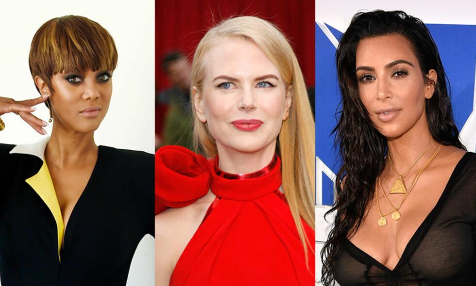 VELGER SURROGATI: Tyra Banks, Nicole Kidman og Kim Kardashian er bare blant et knippe av kjendisene som har benyttet seg av surrogati for å få barn. Mens flere omfavner det, er det ulovlig i Norge. Foto: NTB scanpix