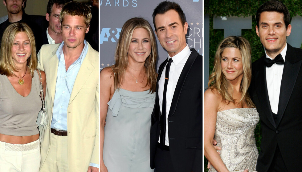 PROFILERTE FORHOLD: Filmstjerna Jennifer Aniston har hatt et turbulent kjærlighetsliv. Fredag ble det kjent at hun og ektemannen Justin Theroux (i midten) skal skilles etter to og et halvt år som gift. Foto: NTB scanpix