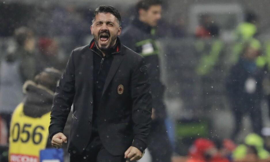 TEMPERAMENTSFULL: Gennaro Gattuso trener nå AC Milan. Foto: AP Photo/Luca Bruno/NTB Scanpix