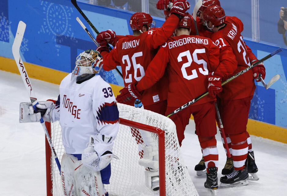 UTSPILT: Lars Haugen og de norske hockeygutta fikk det som ventet tøft mot OAR (Russland) OL-kvartfinaen i Gangneung Hockey Centre i Sør-Korea i morgentimene i dag. Foto: Brian Snyder / Reuters / NTB Scanpix
