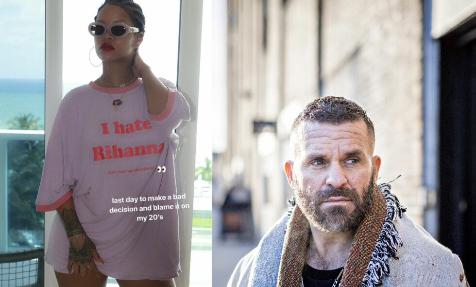 <b>BURSDAGSBARN:</b> Rihanna fylte 30 år på tirsdag. Dagen før la hun ut et bilde av seg selv (t.v.) i en t-skjorte fra den norske samtidskunstneren Bjarne Melgaards (t.h.) kleskolleksjon på sin Instagram-story. Foto: @badgalriri på Instagram og Johannes Worsøe Berg