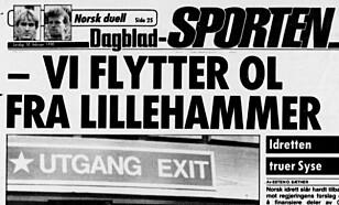 HARDT MOT HARDT: Idrettspresident Hans B. Skaset gikk rett i strupen på regjeringen Syses håndtering av OL-forberedelsene - etter at Lillehammer var tildelt OL i 1994. Faksimile Dagbladet februar 1990.