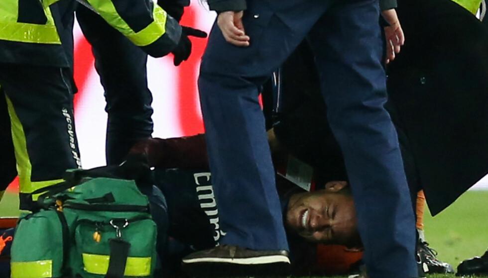 ENDELIG UTSKREVET: Neymar ble skadd i kampen mellom Paris St. Germain og Olympique de Marseille 25. februar. Nå er han utskrevet fra sykehuset. Foto: REUTERS/Stephane Mahe