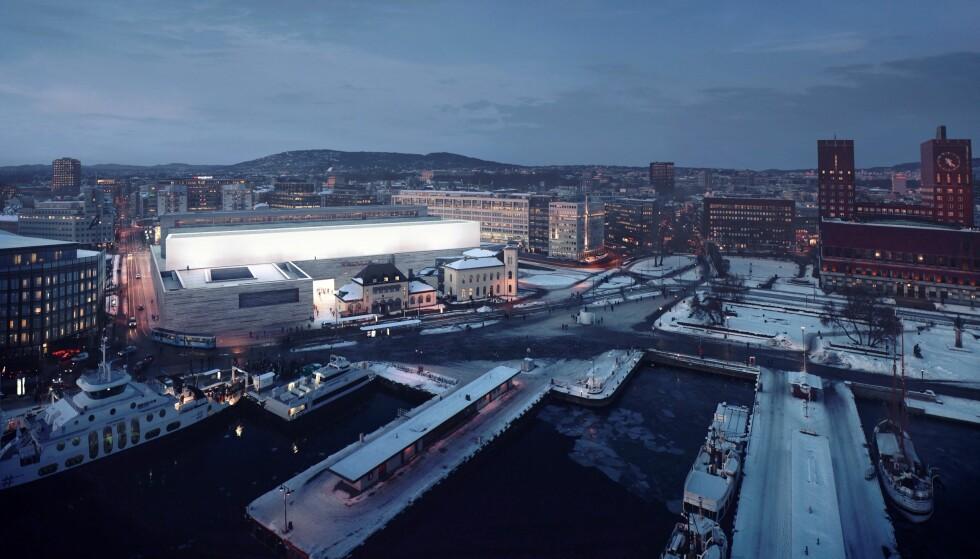 SLIK SKAL DET BLI: Det nye Nasjonalmuseet bygges på Vestbanen og skal stå ferdig våren 2021. Foto: MIR (illustrasjon), Statsbygg / Kleihues + Schuwerk