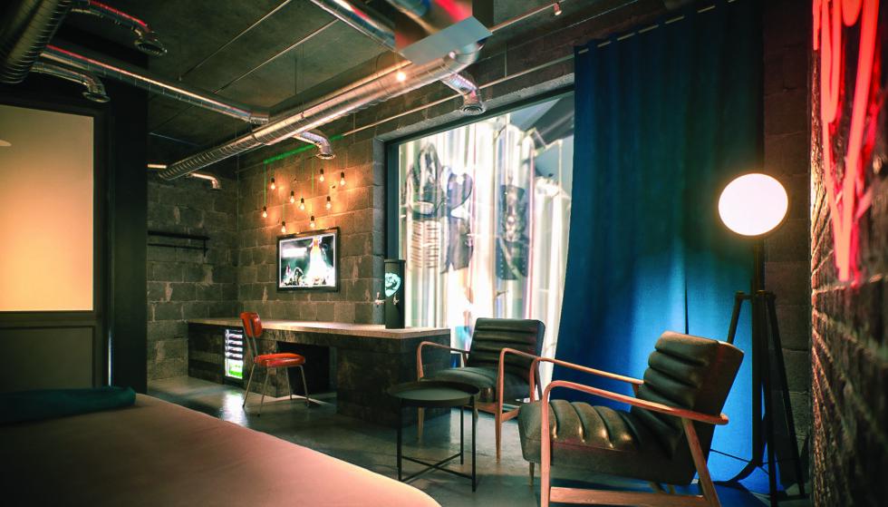 EGEN ØLKRAN: Hotell-rommene blir røft utformet, og ølkrana får en sentral plassering. Illustrasjon: BrewDog