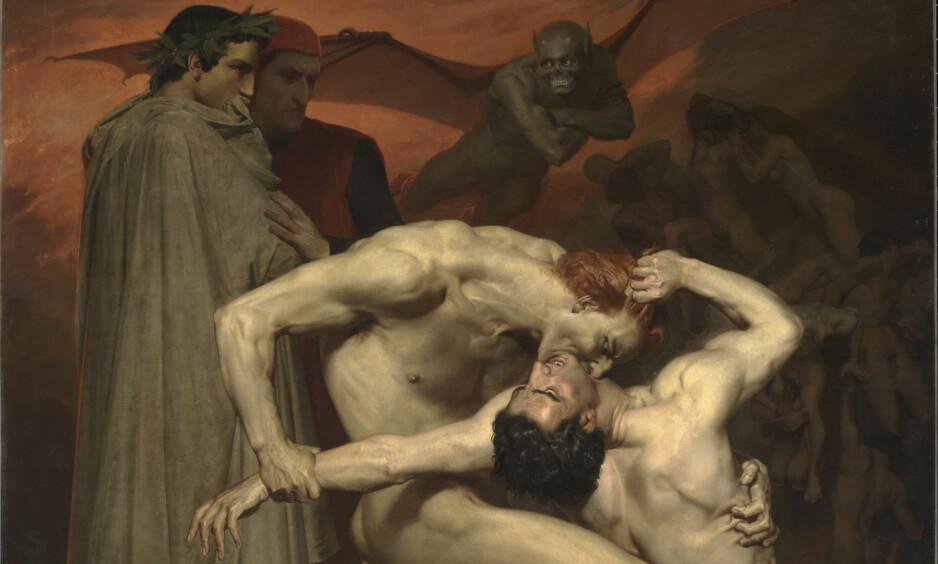 INFERNO: Slik så kunstneren William-Adolphe Bouguereau for seg Dante og Vergil i en scene fra Dantes «Inferno», malt i 1850. Foto: WIKIMEDIA COMMONS