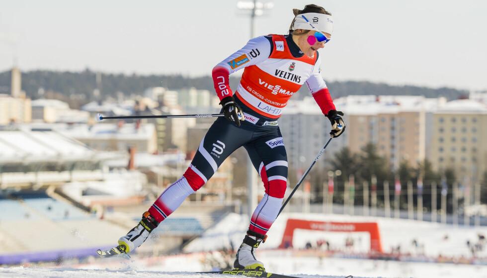 REGJERENDE MESTER: Maiken Caspersen Falla leder nå sprint-verdenscupen. Foto: Fredrik Varfjell / Bildbyrån
