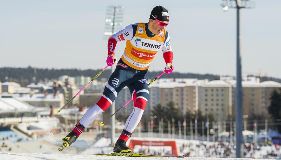 TUNGT: Pellegrino ble for sterk for Klæbo denne gangen. Foto: Fredrik Varfjell / Bildbyrån