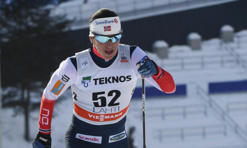 NUMMER TRE: Marit Bjørgen ble beste norske som nummer tre på søndagens 10 kilometer i Lahti. Foto: NTB Scanpix