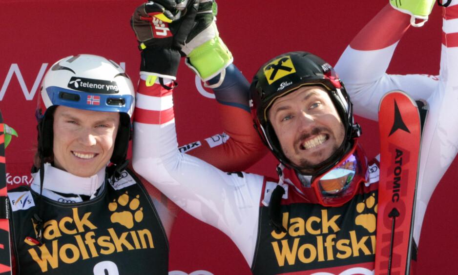 FORNØYD: Marcel Hirscher var i godt humør etter at han vant verdenscupen for sjuende gang. Foto: Borut Zivulovic / Reuters / NTB Scanpix