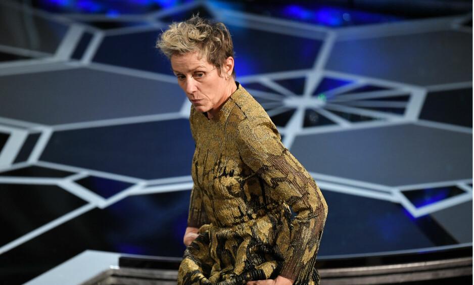 MOBILISERTE: Frances McDormand reagerte på sin egen seier ved å ble alle kvinnelige nominerte om å reise seg. Foto: Rob Latour / Shutterstock / NTB Scanpix