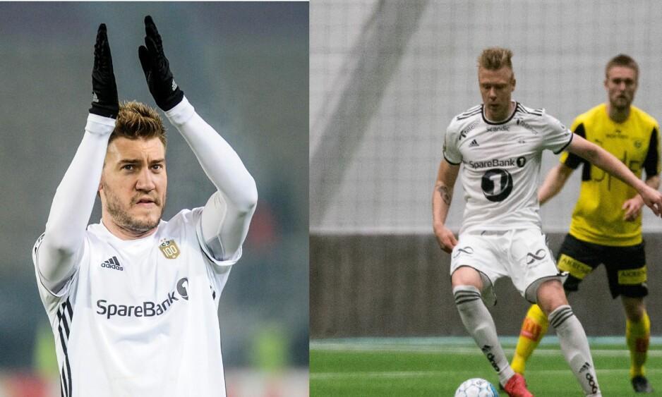 KONKURRENTER: Nicklas Bendtner og Alexander Søderlund konkurrerer om spissplass i Rosenborg. Foto: NTB Scanpix