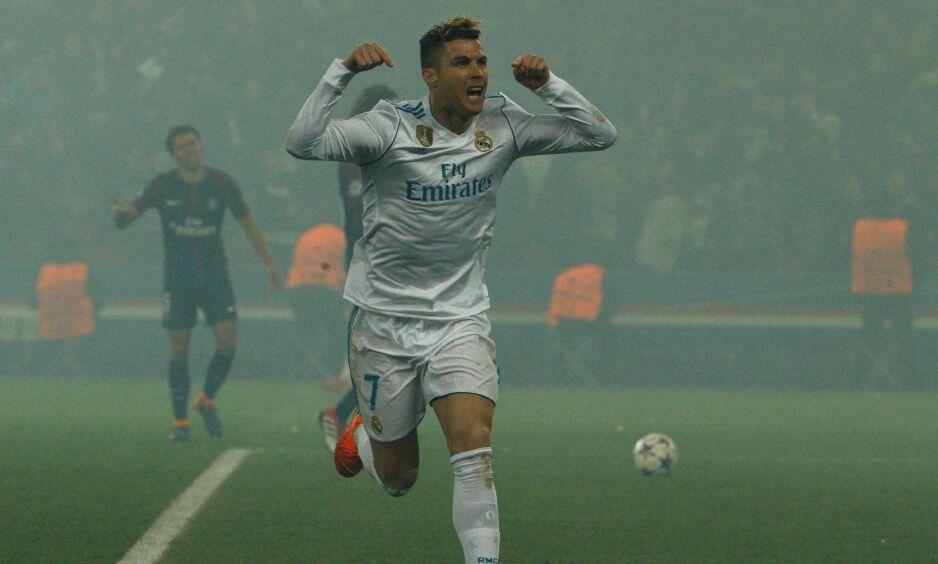 SCORET: Cristiano Ronaldo feirer scoring i 2-1-seier mot PSG. Foto: NTB Scanpix