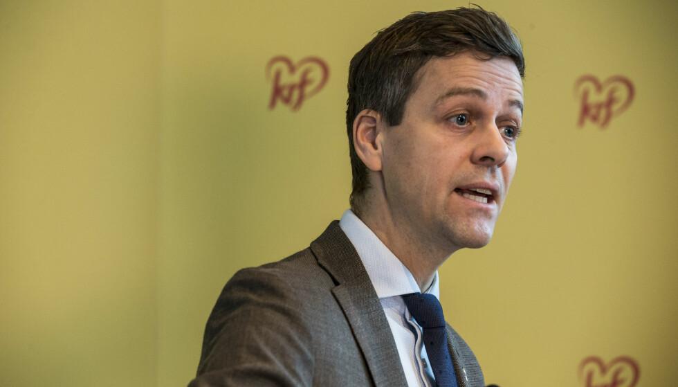 MISFORNØYD: KrF har fått en fremgang på 0,8 prosent. KrF-leder Knut Arild Hareide er likevel ikke fornøyd. Foto: Mariam Butt / NTB scanpix