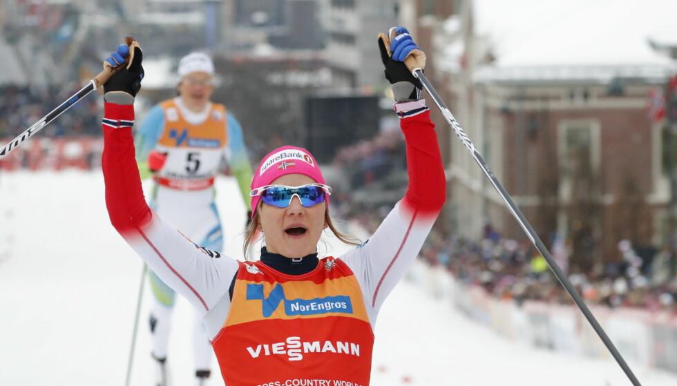 VANT: Maiken Caspersen Falla jubler for sprintseier i Drammen. Foto: Bjørn Langsem / Dagbladet