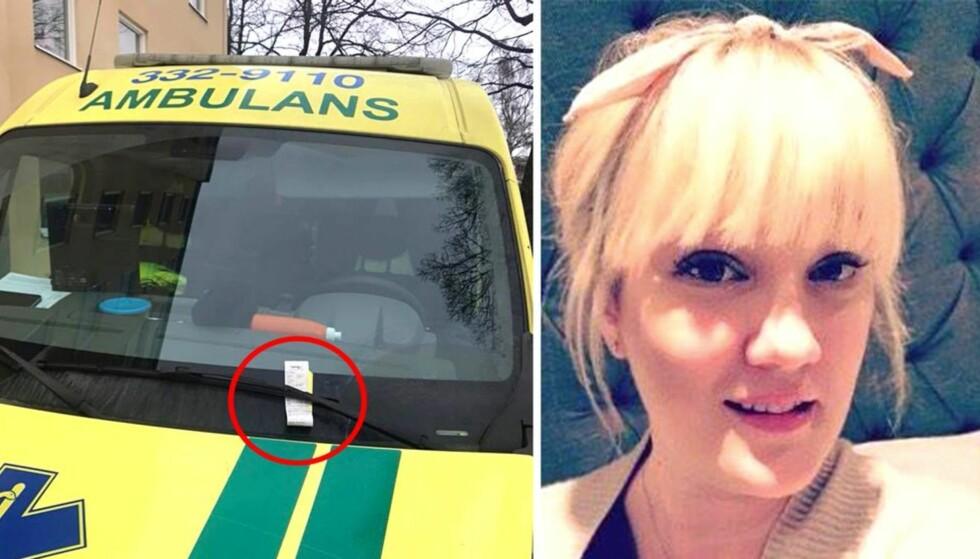 FIKK BOT: Ambulansearbeideren Klara Karlsson trodde noen spøkte med henne da hun fant en bot på ambulansen sin. Foto: Privat