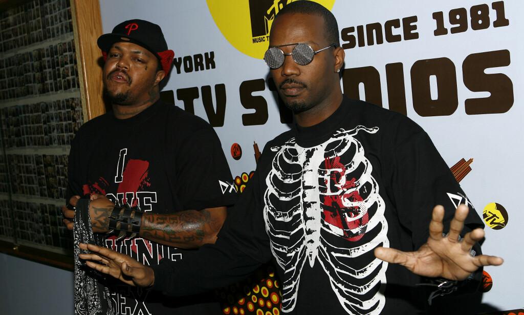"""Three 6 Mafia, her representert ved Paul """"DJ Paul"""" Beauregard, til venstre, og Jordan """"Juicy J"""" Houston, til høyre.. (AP Photo/Jason DeCrow)"""