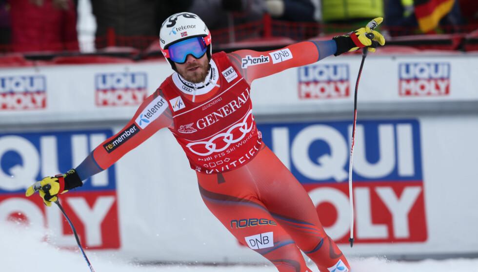 VANT: Kjetil Jansrud suste ned til seier i Kvitfjell. Foto: Geir Olsen / NTB scanpix