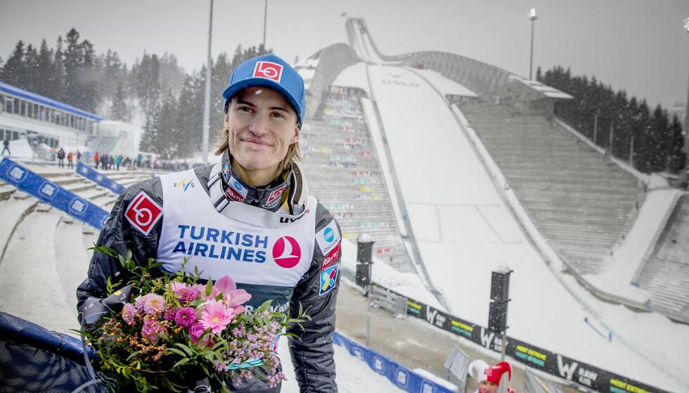 VANT: Daniel Andre Tande vant søndagens hopprenn i Holmenkollen. Foto: Bjørn Langsem / DAGBLADET.