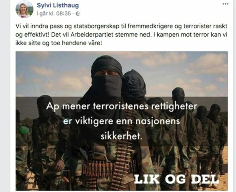 TERRORISTER: Justisminister Sylvi Listhaugs utspill om terrorister og Arbeiderpartiet fredag. Foto: Skjermdump/Facebook