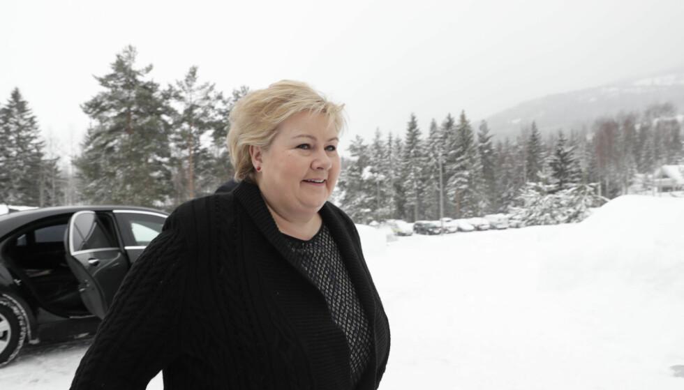 Hurdal  20180312. Statsminister Erna Solberg ankommer  regjeringens budsjettkonferanse på Hurdalsjøen hotell. Foto: Berit Roald / NTB scanpix