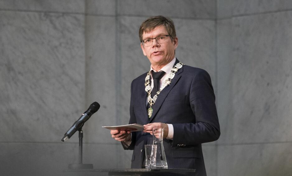 OPPTATT AV SFF-ORDNINGEN: Rektor ved Universitetet i Oslo, Svein Stølen. Her under Nobels fredspris forum i Universitetets aula i Oslo i desember i fjor. Foto: Håkon Mosvold Larsen / NTB scanpix