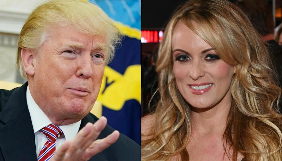 SØKSMÅL: Pornoskuespiller Stephanie Clifford alias Stormy Daniels har saksøkt USAs president, Donald Trump. Foto: AFP PHOTO / GETTY IMAGES NORTH AMERICA AND AFP PHOTO / MANDEL NGAN AND Ethan Miller