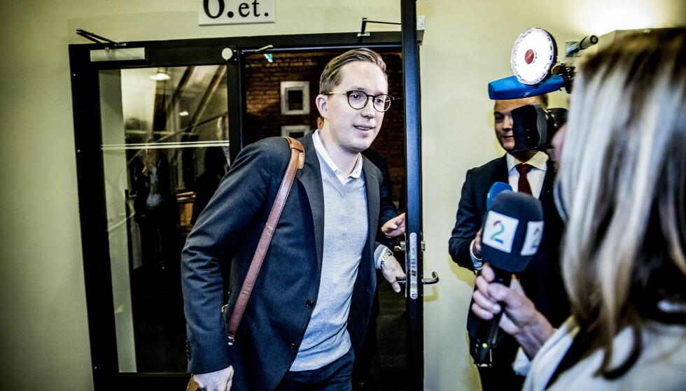 TILBAKE: Kristian Tonning Riise møtte pressen i Oslo for første gang siden han gikk av som Unge Høyre-leder. Foto: Christian Roth Christensen / Dagbladet