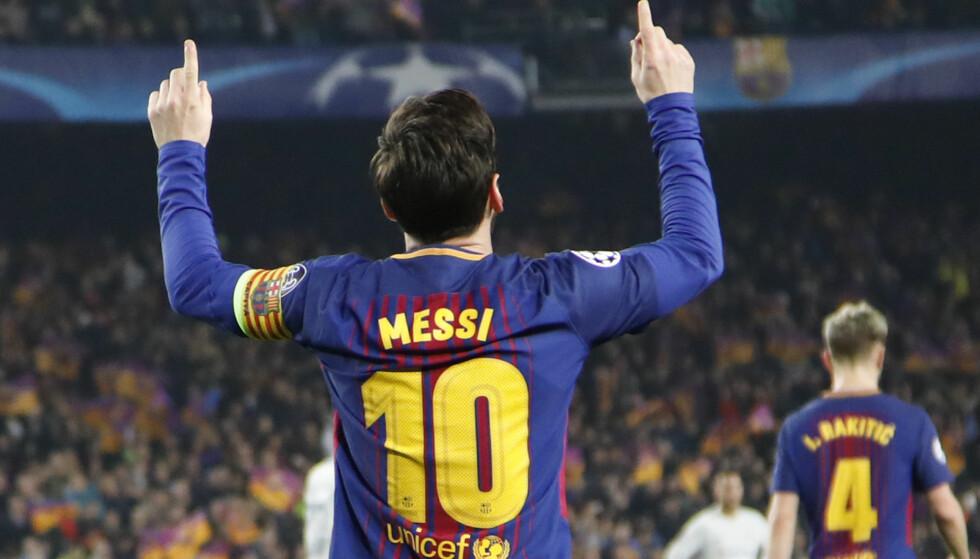 <strong>TO MÅL OG EN MÅLGIVENDE:</strong> 3-0 er scoret og seieren er i boks. Lionel Messi har vært den eneste forskjellen på Chelsa og Barcelona i to kamper om retten til kvartfinalen i Champions League. Foto: Emilio Morenatti/AP