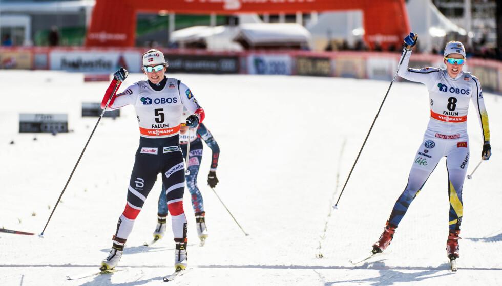 IMPONERTE: Det ble en svensk festdag på kvinnesprinten i Falun, men sjelden har Marit Bjørgen vært mer fornøyd med en 3. plass. Foto: BILDBYRÅN