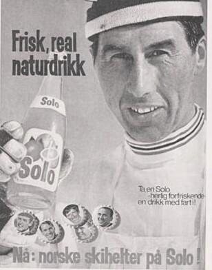 NATURLIG REKLAME: Dagens skiløpere reklamerer for energidrikker, mens på 1960- og 70-tallet var Solo sponsor for norske skihelter. På bildet er det skiløperen Harald Grønningen som poserer. Han vant fem OL-medaljer og to VM-medaljer.