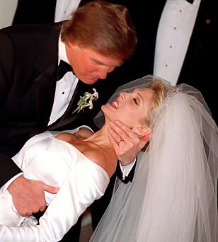 <strong>UTEN ELDSTESØNNEN:</strong> Da Donald Trump giftet seg med Marla Maples i 1992, ønsket ikke sønnen å delta. Foto: AP / NTB Scanpix