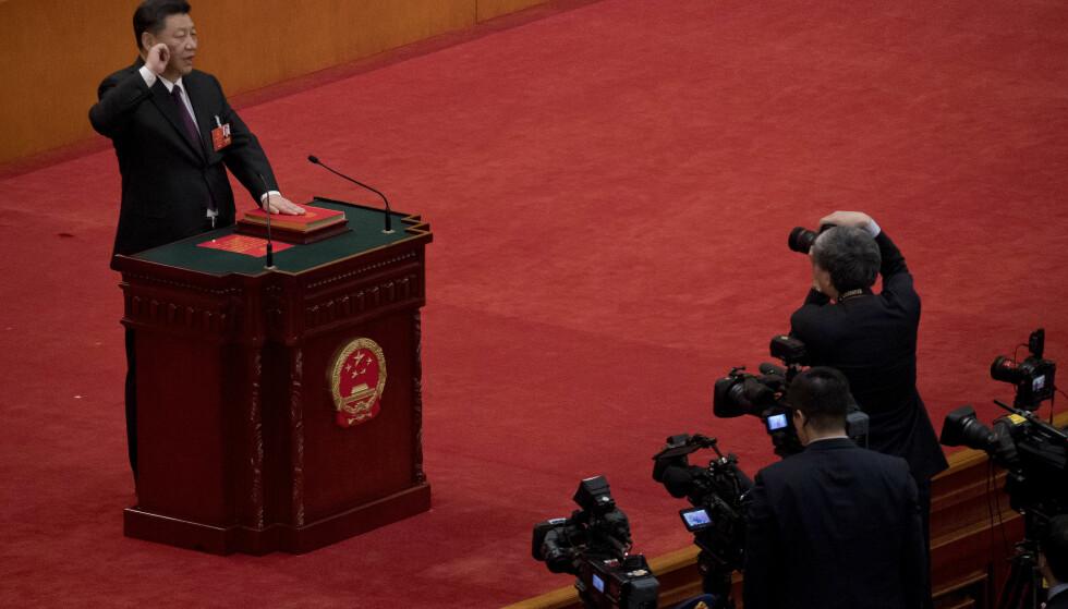 AVLA ED: Kinas Xi Jinping avla i natt ed for å i gangsette sin andre periode som Kinas president. Foto: NTB Scanpix/AP
