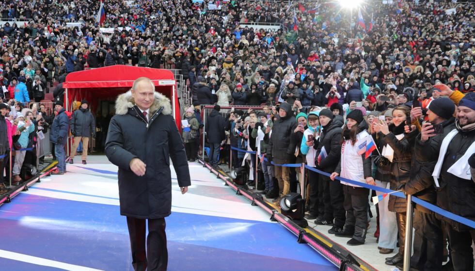 VALG: Søndag er det valg i Russland, og det er høyst forventet at president Vladimir Putin igjen vil bli valgt som president. Foto: Sputnik/Kremlin via REUTERS/NTB Scanpix