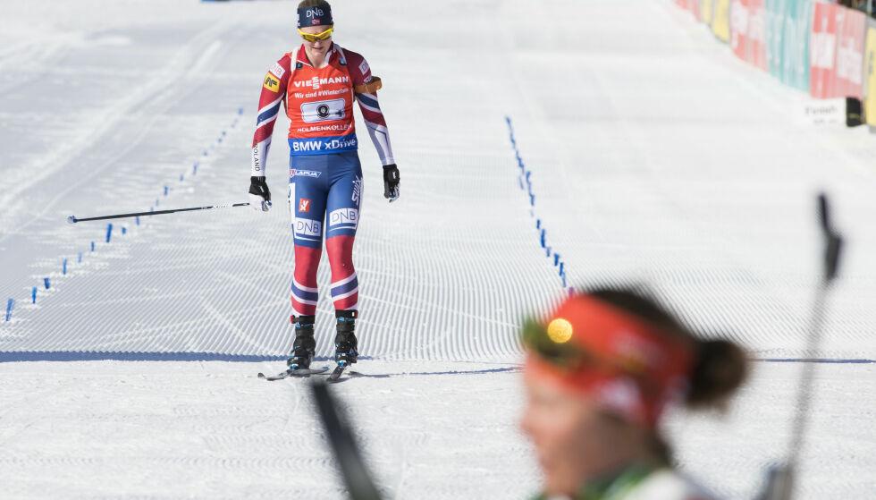 SKUFFET: Det var en skuffet Marte Olsbu som gikk i mål på dagens stafett i Holmenkollen. Foto: NTB Scanpix/ Håkon Mosvold Larsen