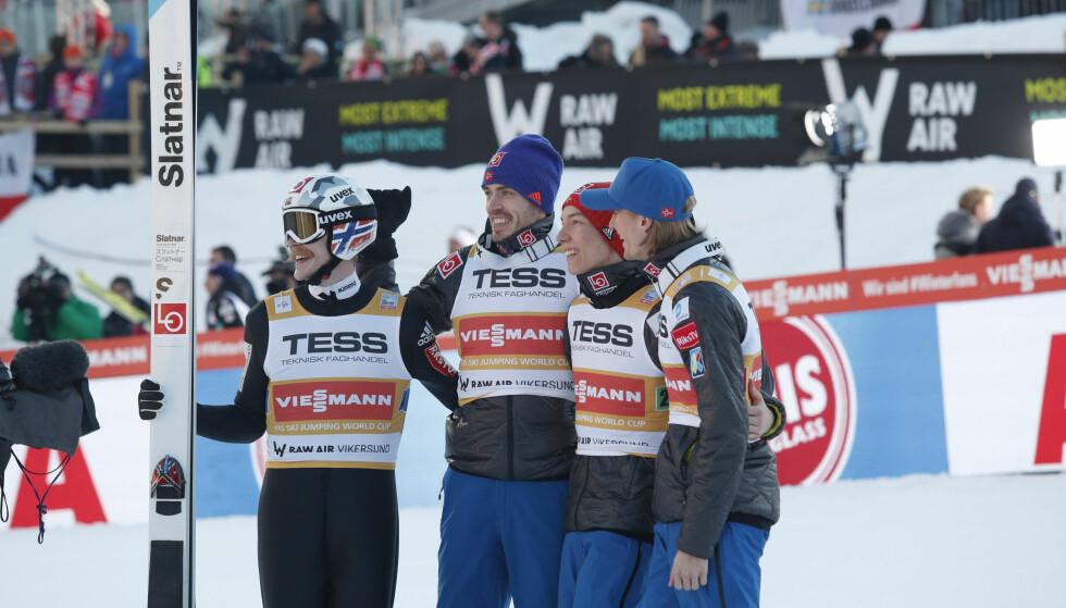 OVERLEGNE: De norske hoppgutta tok en knusende seier i lagkonkurransen i Vikersund. Foto: NTB Scanpix