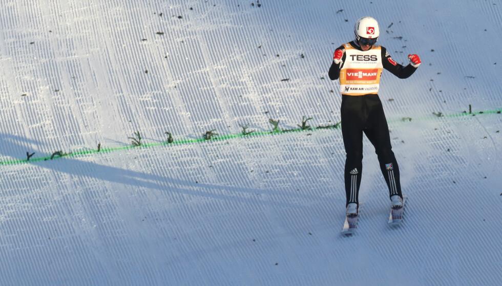 LEDER: Andreas Stjernen leder konkurransen i Vikersund etter første omgang. Foto: Terje Bendiksby / NTB scanpix