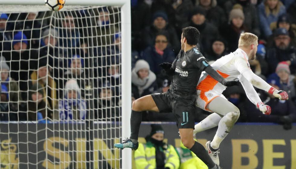 TIL SEMIFINALE: Chelsea måtte ha ekstraomganger for å ta seg videre til semifinale i FA-cupen. Pedro ble matchvinner for London-klubben. Foto: NTB Scanpix/AP Photo/Frank Augstein