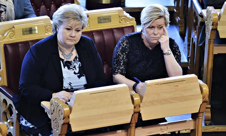 KOLLISJONSKURS: Erna Solberg og Siv Jensen må konstatere at stortingsgruppene deres er på kollisjonskurs i spørsmålet om å forby ekteskap mellom søskenbarn. Foto: Hans Arne Vedlog / Dagbladet