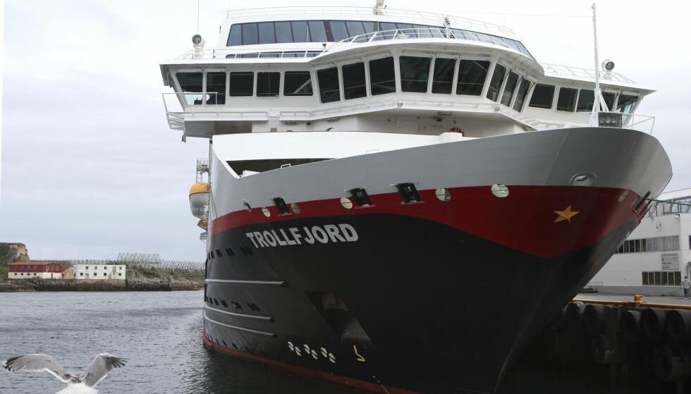 TROLLFJORD: Det var på dette Hurtigrute-skipet blindpassasjeren utagerte i beruset tilstand. Foto: NTB Scanpix