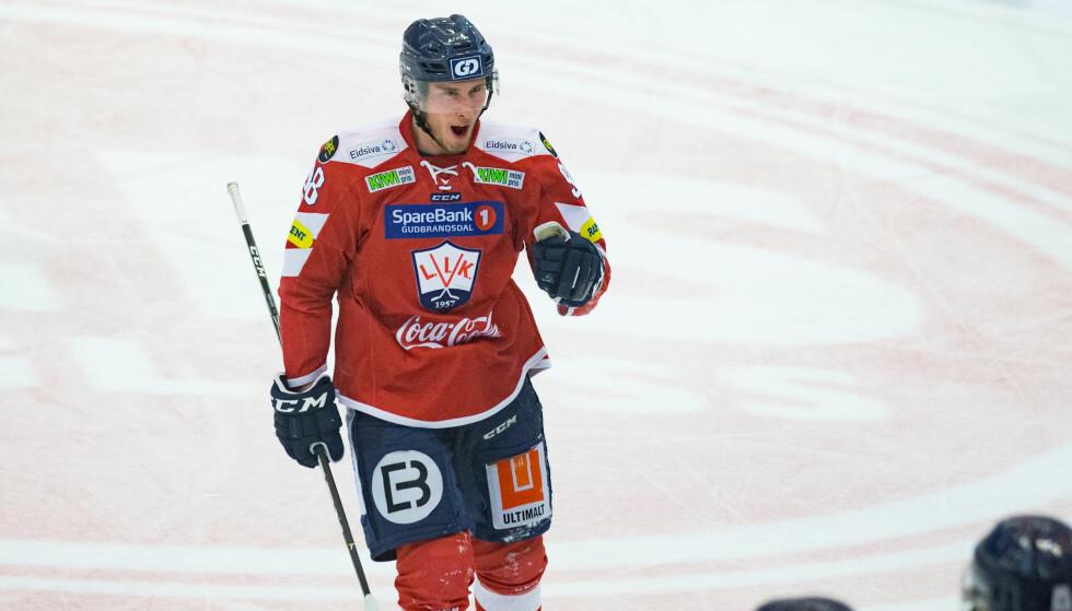 HERJET: Jacob Noer scoret tre ganger da Lillehammer gikk til NM-finale etter 5-1 mot Sparta Sarpsborg. Foto: Fredrik Hagen / NTB scanpix
