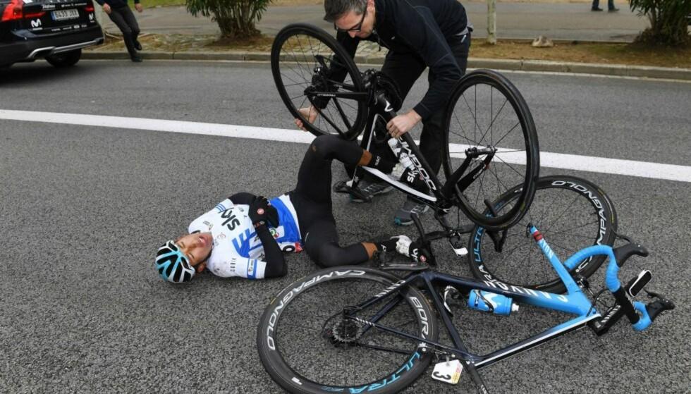 Ned for telling: Bernal veltet på siste og avgjørende etappe i Volta a Catalunya. FOTO: Tim de Waele.