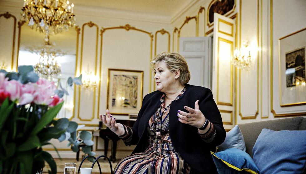VISTE UT DIPLOMAT: Erna Solberg møter Dagbladet i Paris, og sier hun viste ut en russisk diplomat for å vise solidaritet med Norges allierte. Foto: Nina Hansen / DAGBLADET
