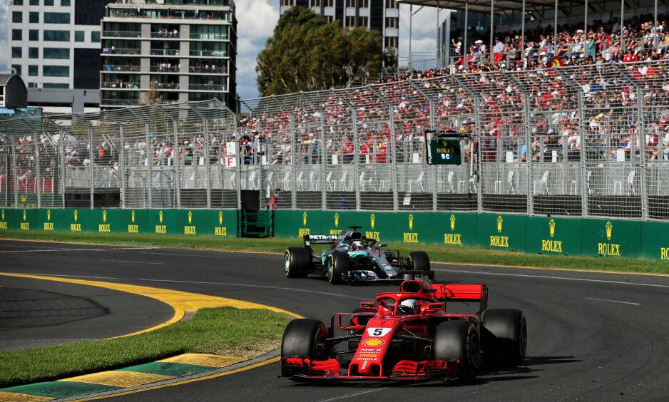 RASKERE BILER: Sebastian Vettel og Ferrari vant den første VM-runden i Melbourne, men ikke alle liker utviklingen med stadig raskere biler. Foto: NTB Scanpix